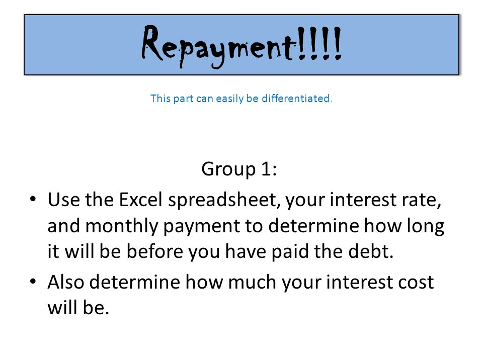 Repayment!!!! Group 1: Use the Excel spreadsheet, your interest rate, and monthly payment to determine how long it will be before you have paid the de