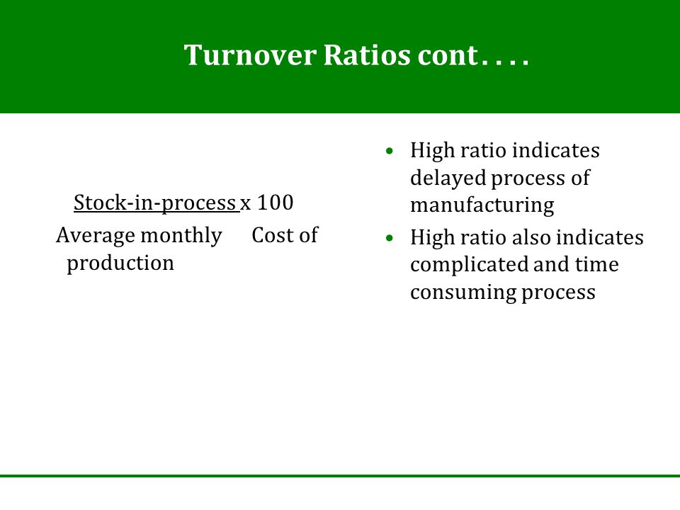Turnover Ratios cont ….