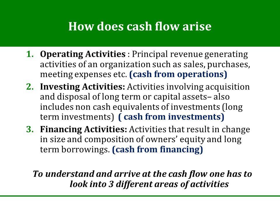 How does cash flow arise 1.Operating Activities : Principal revenue generating activities of an organization such as sales, purchases, meeting expenses etc.
