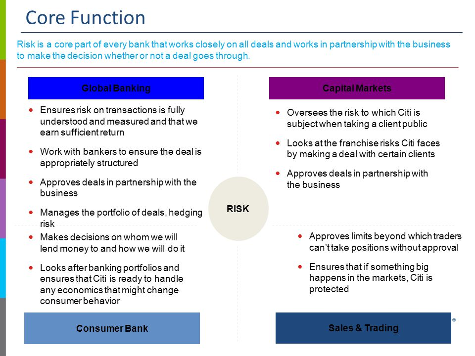Core Function Risk is a core part of every bank that works closely on all deals and works in partnership with the business to make the decision whether or not a deal goes through.