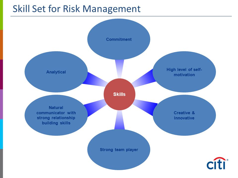 Skill Set for Risk Management Strong team player High level of self- motivation Creative & Innovative Natural communicator with strong relationship bu