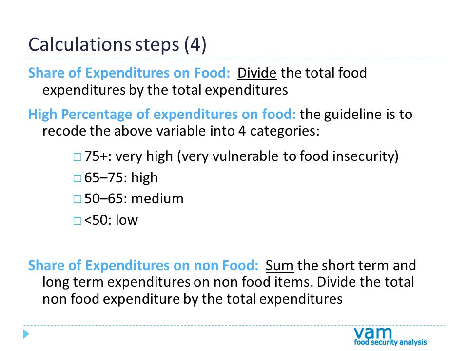 Calculations steps (4) Share of Expenditures on Food: Divide the total food expenditures by the total expenditures High Percentage of expenditures on food: the guideline is to recode the above variable into 4 categories:  75+: very high (very vulnerable to food insecurity)  65–75: high  50–65: medium  <50: low Share of Expenditures on non Food: Sum the short term and long term expenditures on non food items.