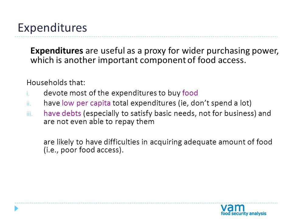 Expenditures Expenditures are useful as a proxy for wider purchasing power, which is another important component of food access.