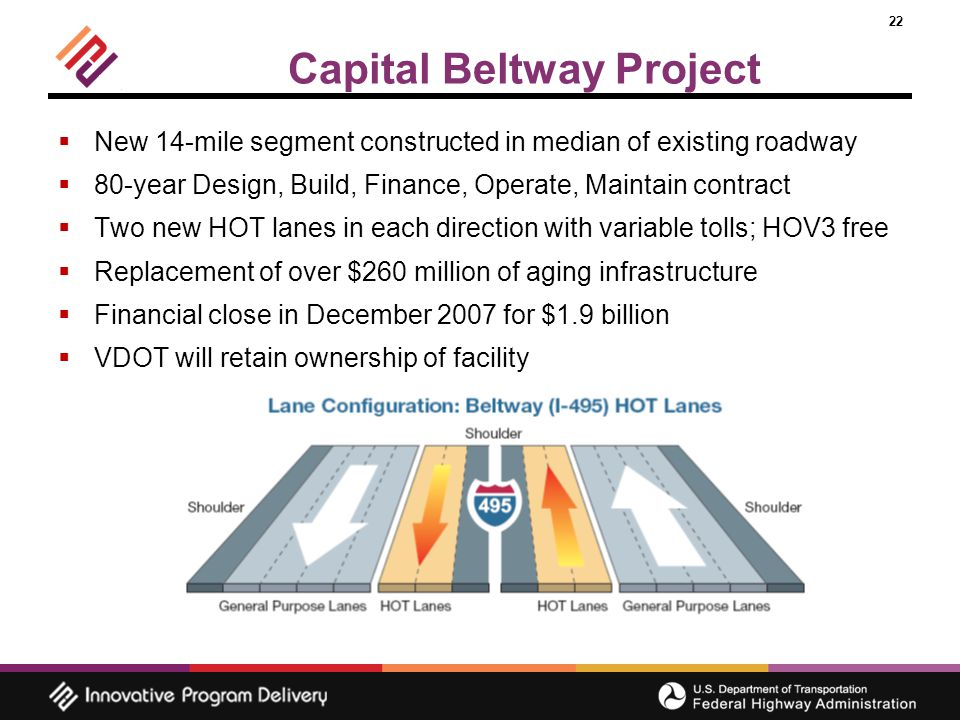 22 Capital Beltway Project  New 14-mile segment constructed in median of existing roadway  80-year Design, Build, Finance, Operate, Maintain contract  Two new HOT lanes in each direction with variable tolls; HOV3 free  Replacement of over $260 million of aging infrastructure  Financial close in December 2007 for $1.9 billion  VDOT will retain ownership of facility