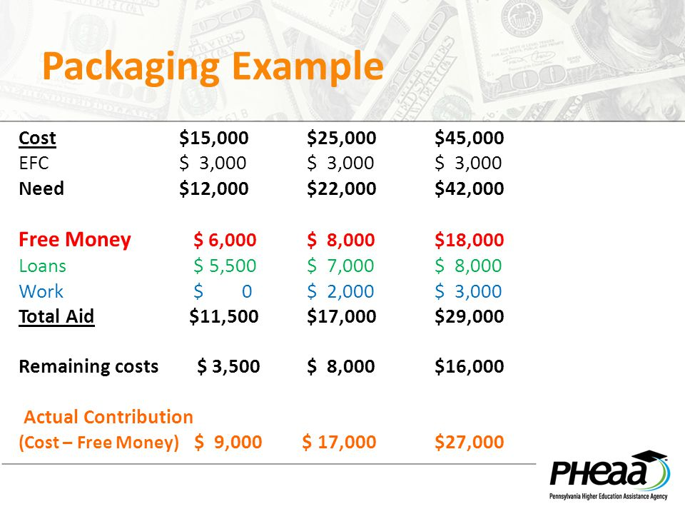 Packaging Example Cost $15,000 $25,000 $45,000 EFC $ 3,000 $ 3,000 $ 3,000 Need $12,000 $22,000 $42,000 Free Money $ 6,000 $ 8,000 $18,000 Loans $ 5,5