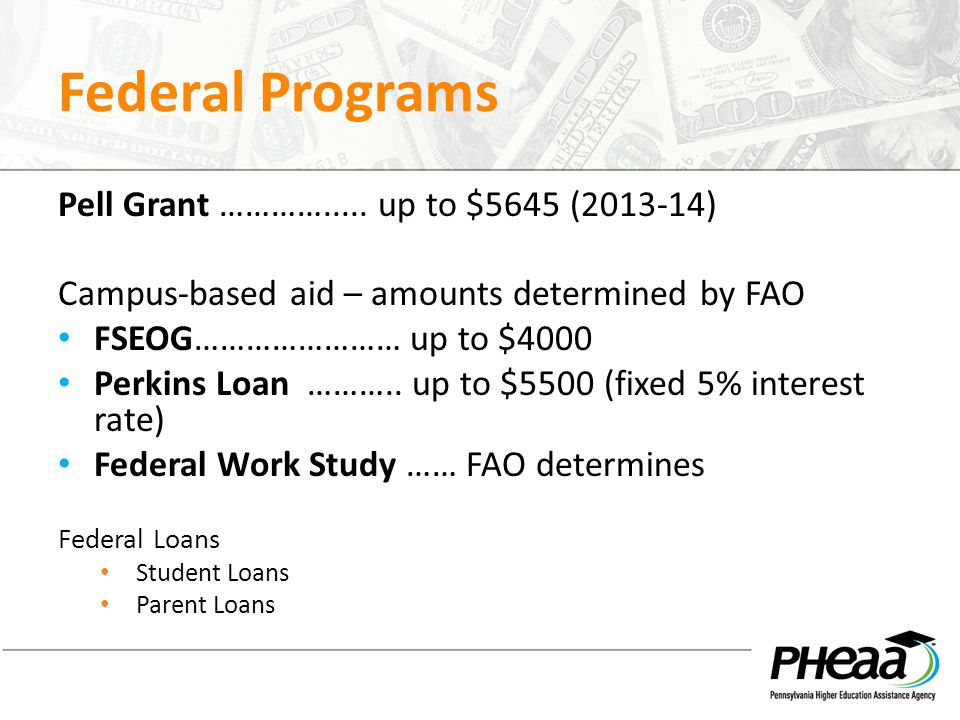 Federal Programs Pell Grant …………..... up to $5645 (2013-14) Campus-based aid – amounts determined by FAO FSEOG…………………… up to $4000 Perkins Loan ………..