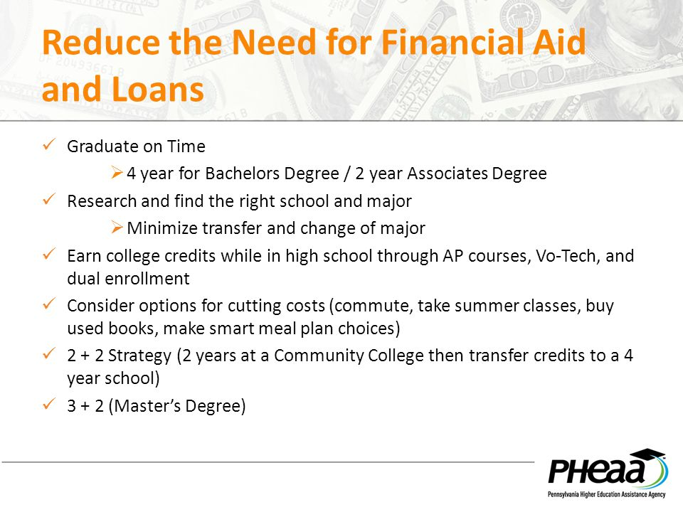 Reduce the Need for Financial Aid and Loans Graduate on Time  4 year for Bachelors Degree / 2 year Associates Degree Research and find the right scho