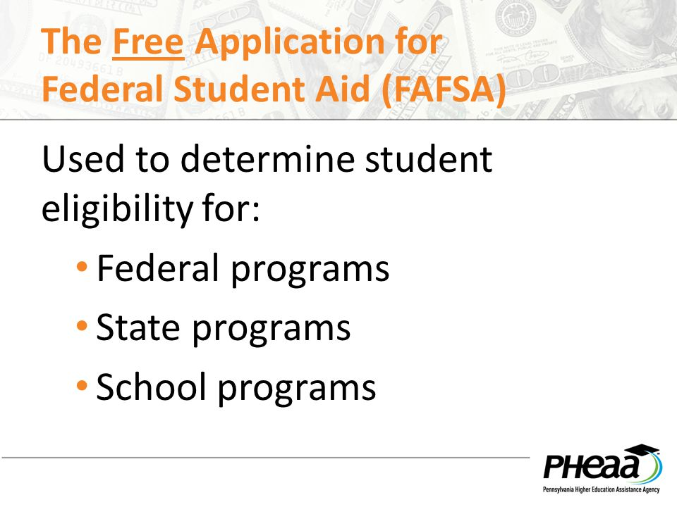 FAFSA The FAFSA may be filed beginning on January 1 of the senior year of high school For the 2014-15 academic year, the FAFSA may be filed beginning January 1, 2014 Complete the FAFSA as soon as possible after January 1 Be aware of school recommended filing deadlines The FAFSA must be completed every year!