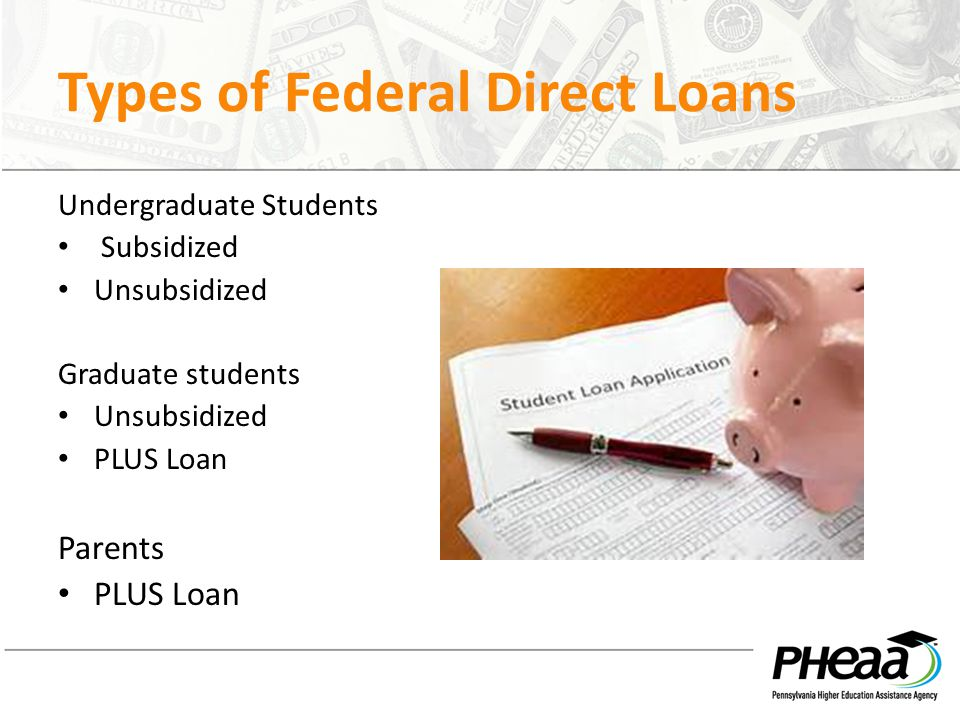 Types of Federal Direct Loans Undergraduate Students Subsidized Unsubsidized Graduate students Unsubsidized PLUS Loan Parents PLUS Loan