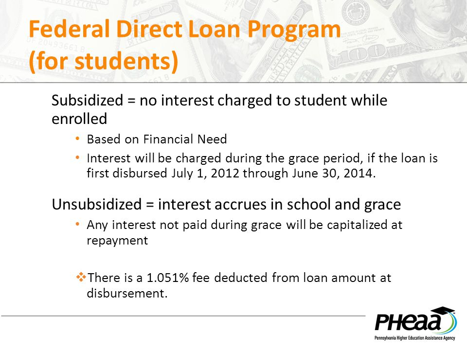 Federal Direct Loan Program (for students) Subsidized = no interest charged to student while enrolled Based on Financial Need Interest will be charged