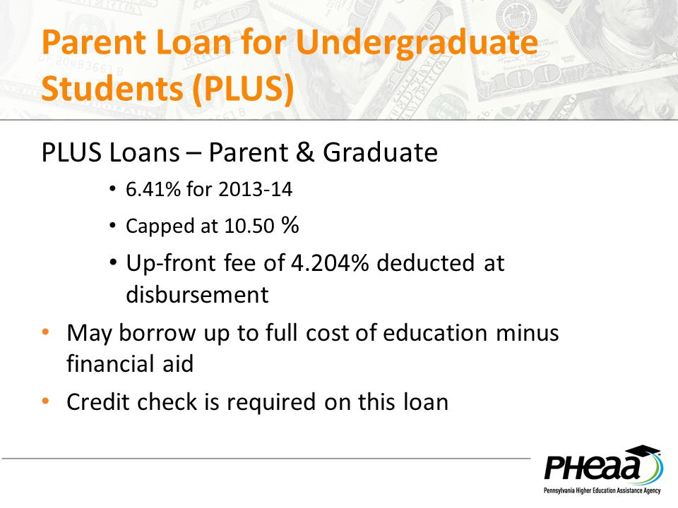 Parent Loan for Undergraduate Students (PLUS) PLUS Loans – Parent & Graduate 6.41% for 2013-14 Capped at 10.50 % Up-front fee of 4.204% deducted at di