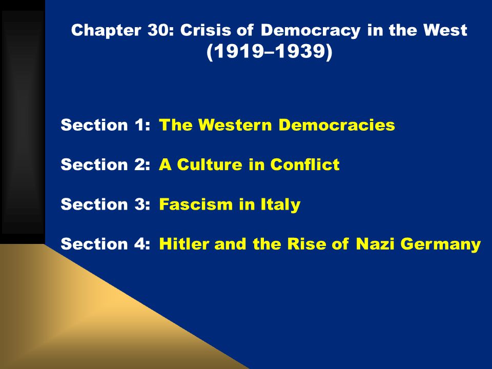 Chapter 30: Crisis of Democracy in the West (1919–1939) Section 1: The Western Democracies Section 2: A Culture in Conflict Section 3: Fascism in Ital