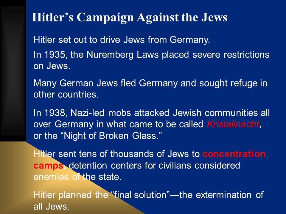 Hitler's Campaign Against the Jews Hitler set out to drive Jews from Germany. In 1935, the Nuremberg Laws placed severe restrictions on Jews. Many Ger