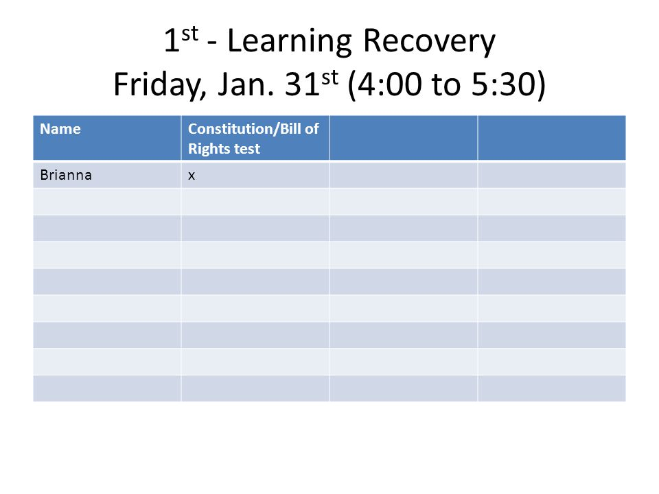 3rd - Learning Recovery Friday, Jan. 31 st (4:00 to 5:30) NameConstitution/Bill of Rights test