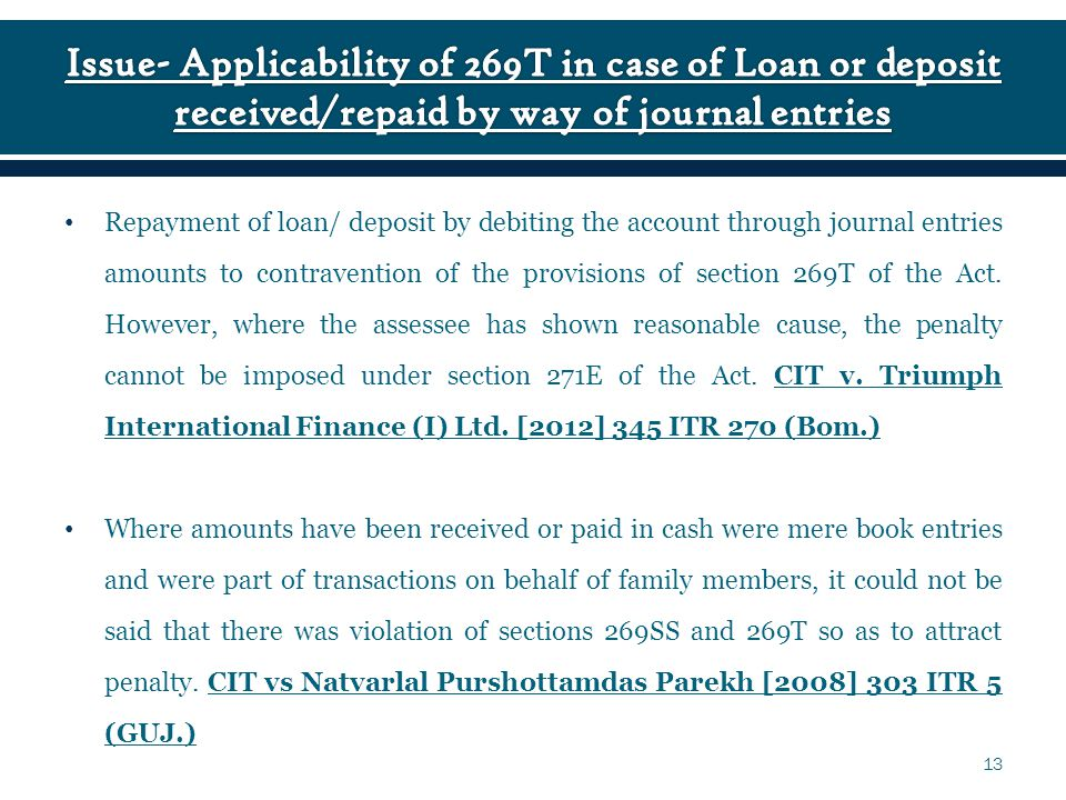 Repayment of loan/ deposit by debiting the account through journal entries amounts to contravention of the provisions of section 269T of the Act.