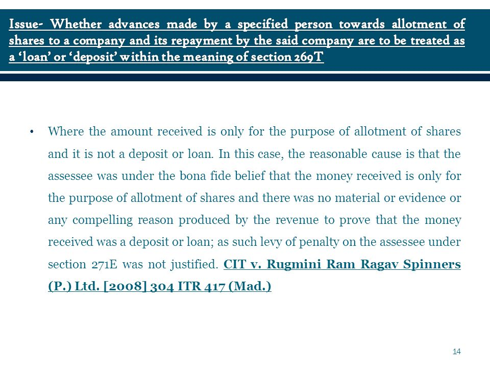 Where the amount received is only for the purpose of allotment of shares and it is not a deposit or loan.