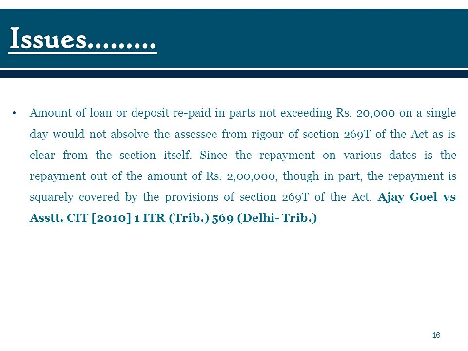 Amount of loan or deposit re-paid in parts not exceeding Rs.