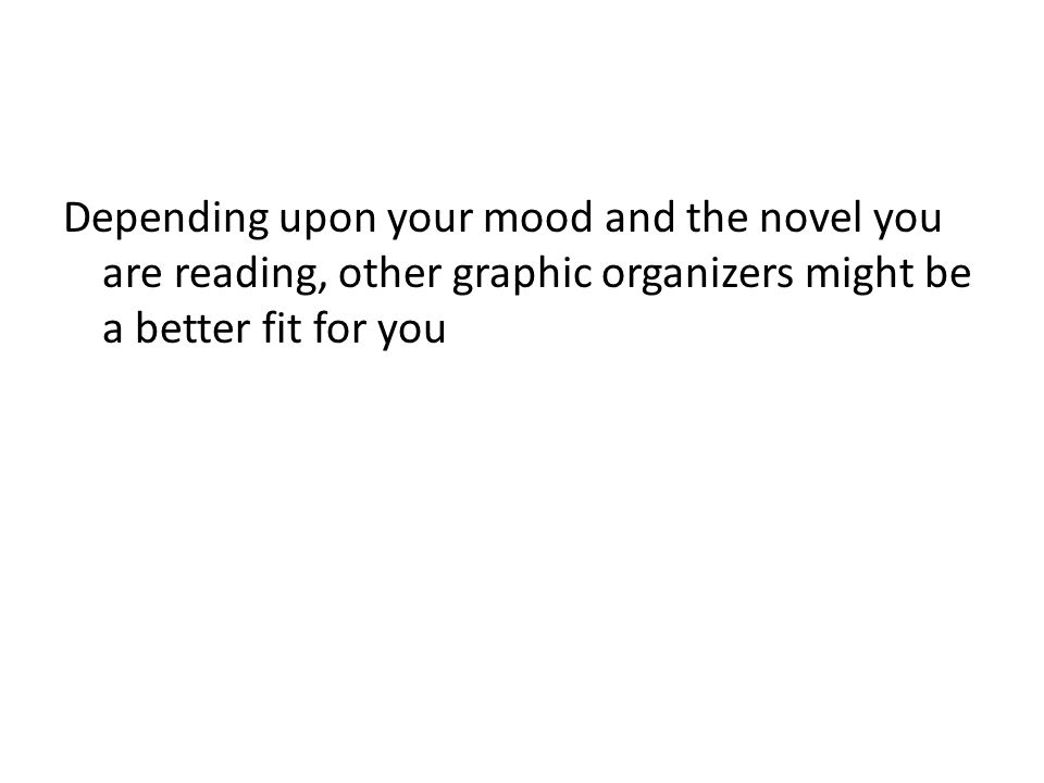 Depending upon your mood and the novel you are reading, other graphic organizers might be a better fit for you