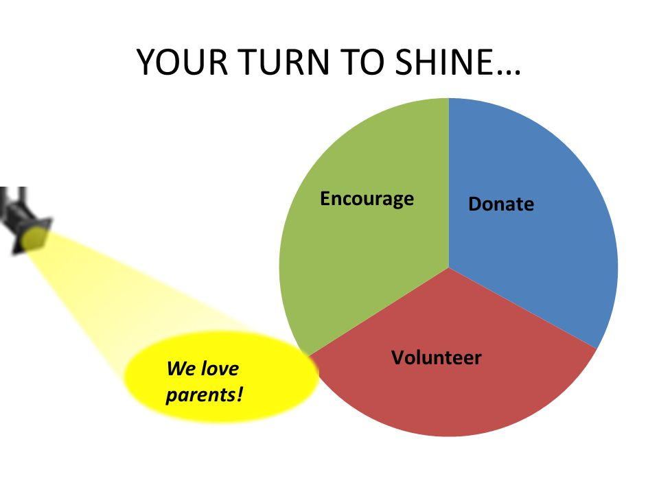 YOUR TURN TO SHINE… We love parents!