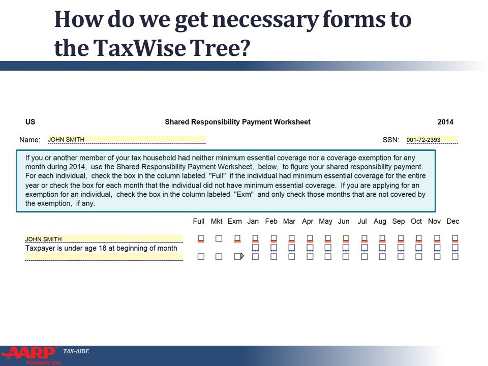 "TAX-AIDE How do we get necessary forms to the TaxWise Tree? ● Select TW ""1040 Wkt8"" ● Read the Instructions. Carefully!"