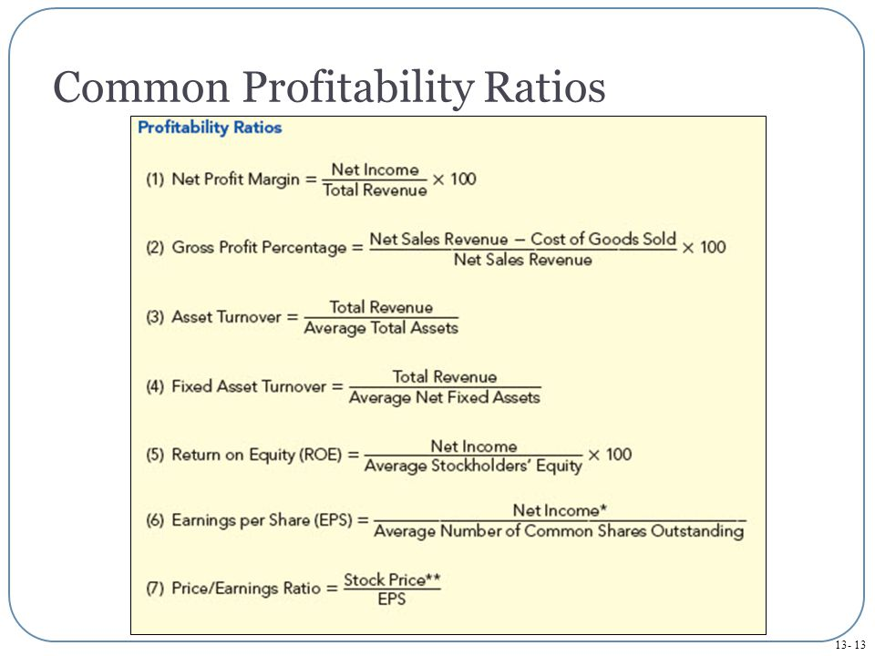 13- 13 Common Profitability Ratios