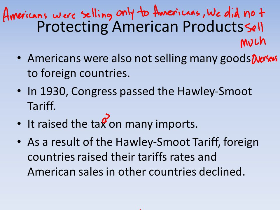 Protecting American Products Americans were also not selling many goods to foreign countries.
