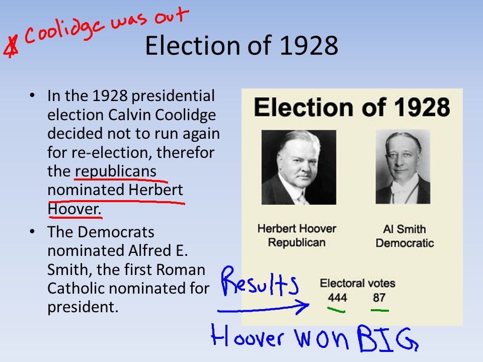 Election of 1928 In the 1928 presidential election Calvin Coolidge decided not to run again for re-election, therefor the republicans nominated Herbert Hoover.
