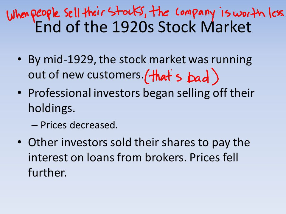 End of the 1920s Stock Market By mid-1929, the stock market was running out of new customers.