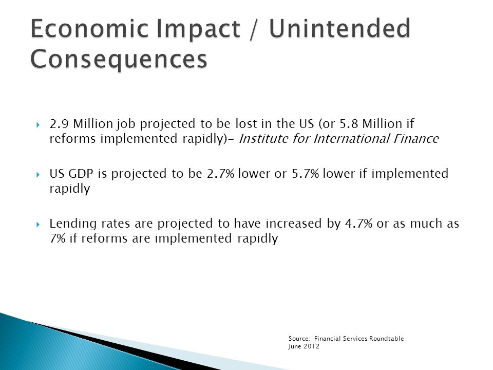  2.9 Million job projected to be lost in the US (or 5.8 Million if reforms implemented rapidly)- Institute for International Finance  US GDP is projected to be 2.7% lower or 5.7% lower if implemented rapidly  Lending rates are projected to have increased by 4.7% or as much as 7% if reforms are implemented rapidly Source: Financial Services Roundtable June 2012