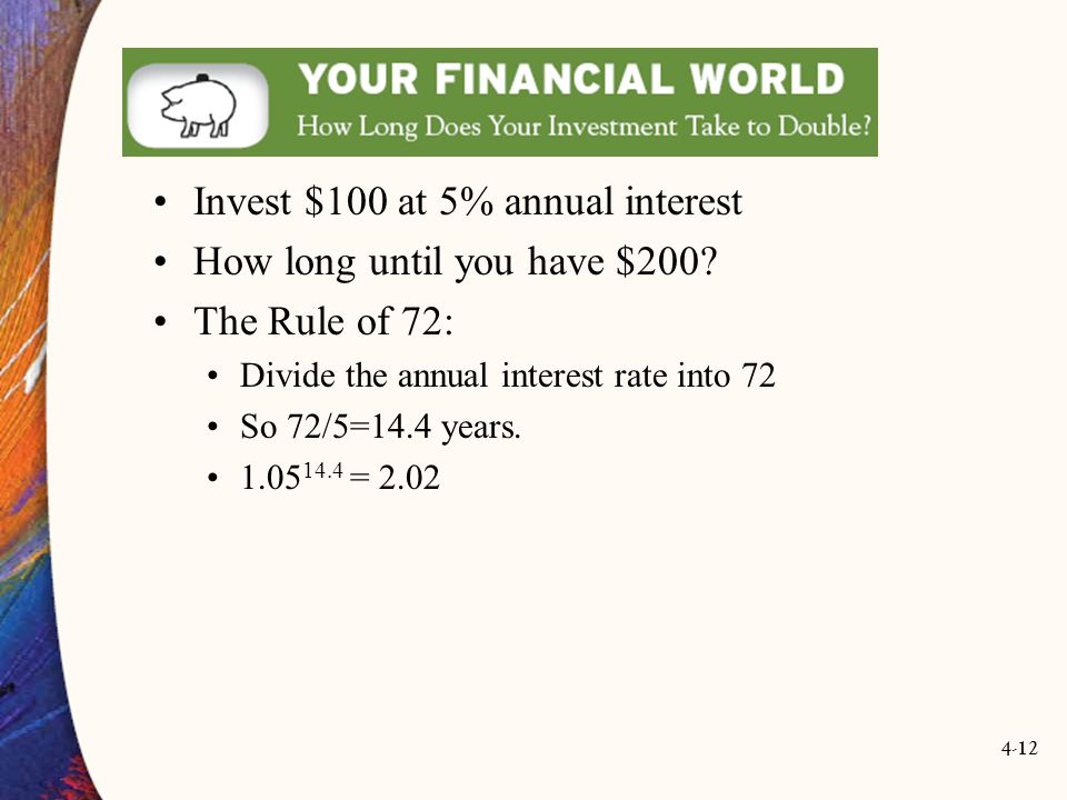 4-12 Invest $100 at 5% annual interest How long until you have $200.