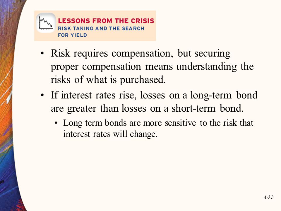 4-20 Risk requires compensation, but securing proper compensation means understanding the risks of what is purchased.