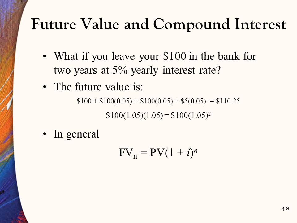 4-9 Future Value and Compound Interest Table 4.1 shows the compounding years into the future.