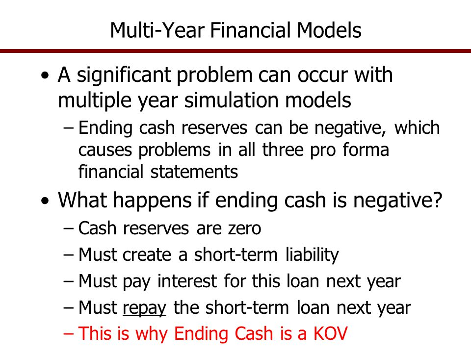 Multi-Year Financial Models A significant problem can occur with multiple year simulation models –Ending cash reserves can be negative, which causes problems in all three pro forma financial statements What happens if ending cash is negative.