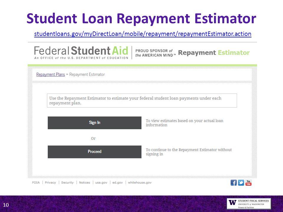 10 Student Loan Repayment Estimator studentloans.gov/myDirectLoan/mobile/repayment/repaymentEstimator.action