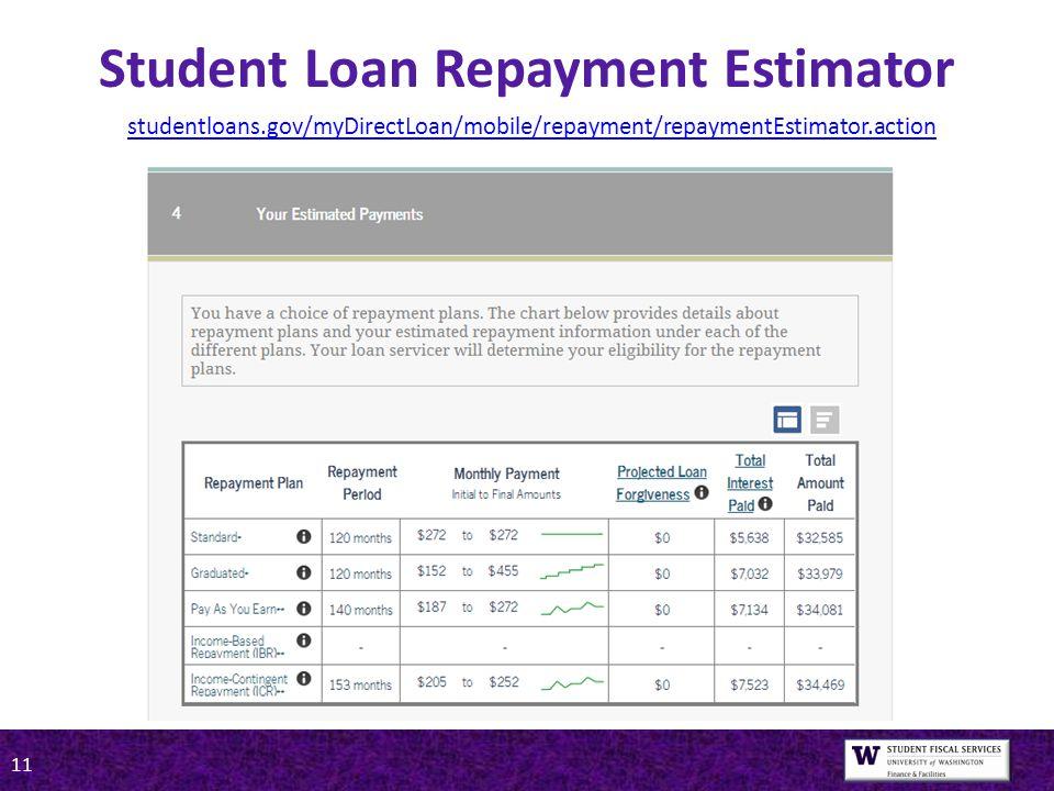 11 Student Loan Repayment Estimator studentloans.gov/myDirectLoan/mobile/repayment/repaymentEstimator.action