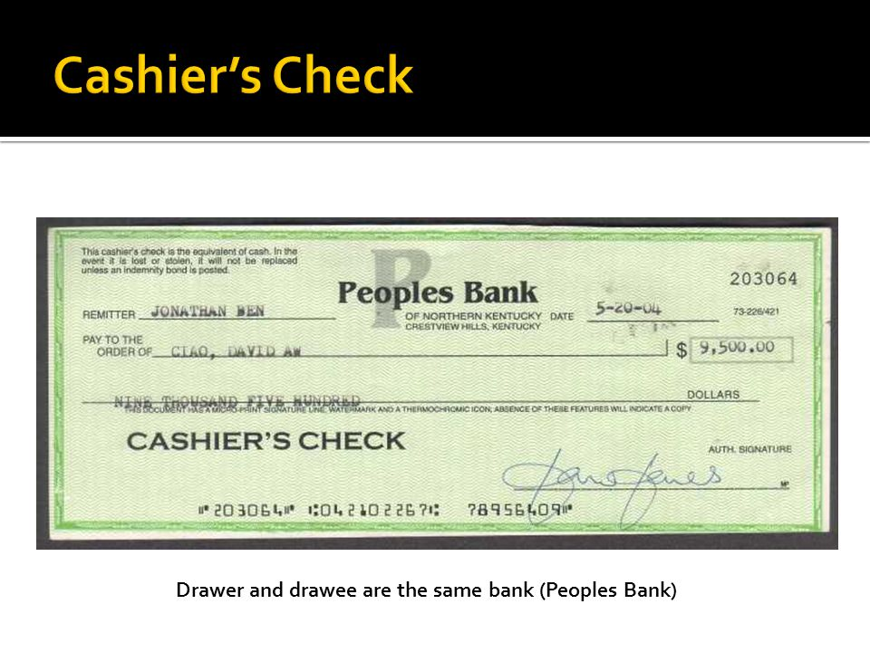 Drawer and drawee are the same bank (Peoples Bank)