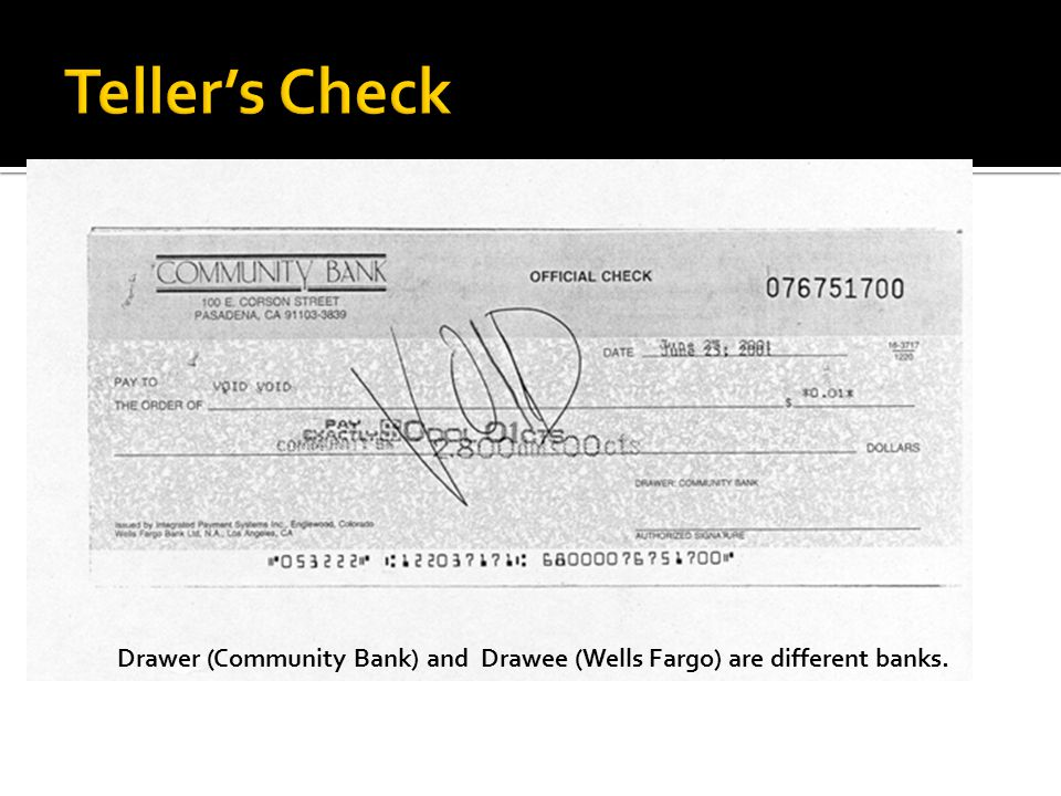 Drawer (Community Bank) and Drawee (Wells Fargo) are different banks.