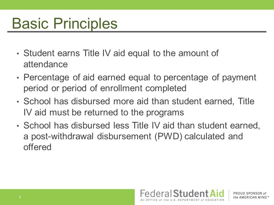 Basic Principles Student completes more than 60% of the PP or POE, student earned 100% scheduled Title IV funds Institutional or other refund policies do not impact amount of Title IV aid earned R2T4 calculation School use best information available to determine withdrawal date (document) 4