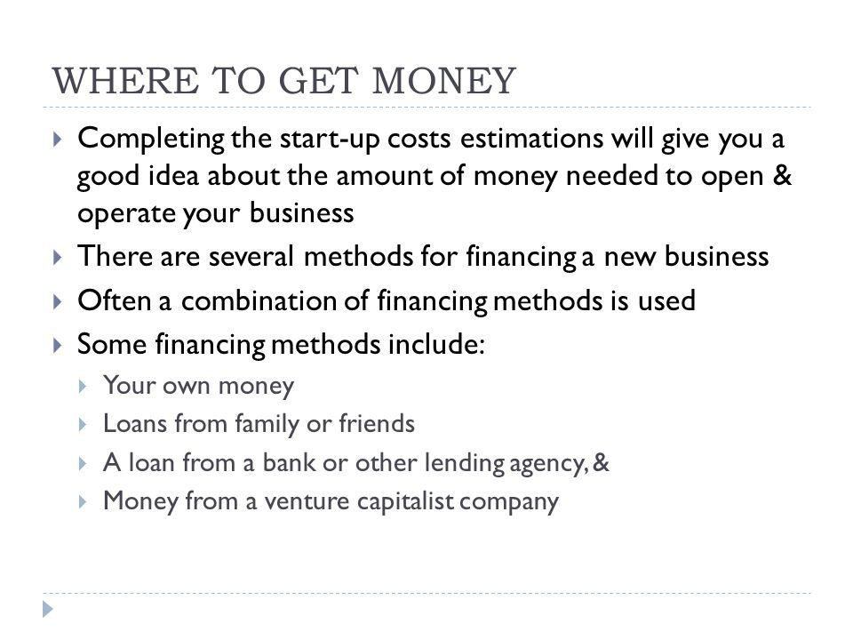 SUMMARY  In this unit we have examined some of the steps a prospective business owner should take to start a new business  We reviewed some of the methods of financing a new business  We continued with an overview of some of the financial reports that are important for securing financing for a new store  A brief discussion of the components of a loan, the principal & interest, followed the overview, & we included some of the basic mathematics used in financing