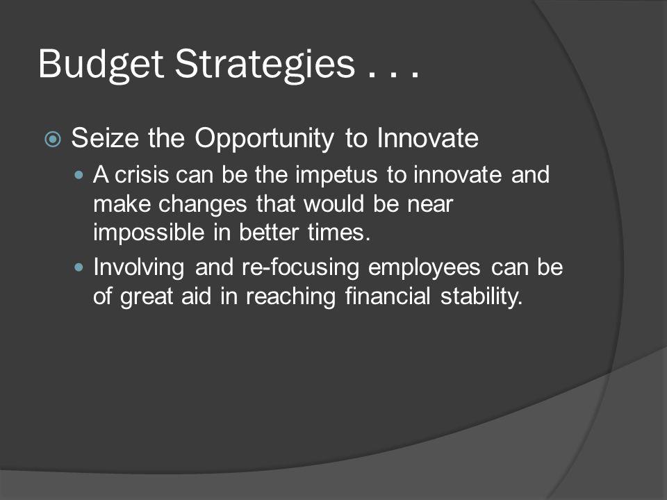 Budget Strategies...