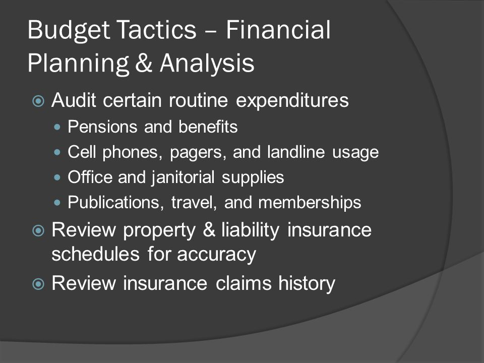 Budget Tactics – Financial Planning & Analysis  Audit certain routine expenditures Pensions and benefits Cell phones, pagers, and landline usage Office and janitorial supplies Publications, travel, and memberships  Review property & liability insurance schedules for accuracy  Review insurance claims history