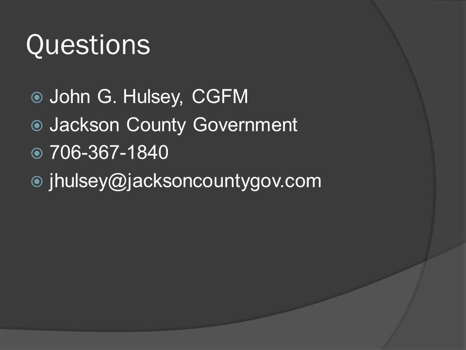 Questions  John G.