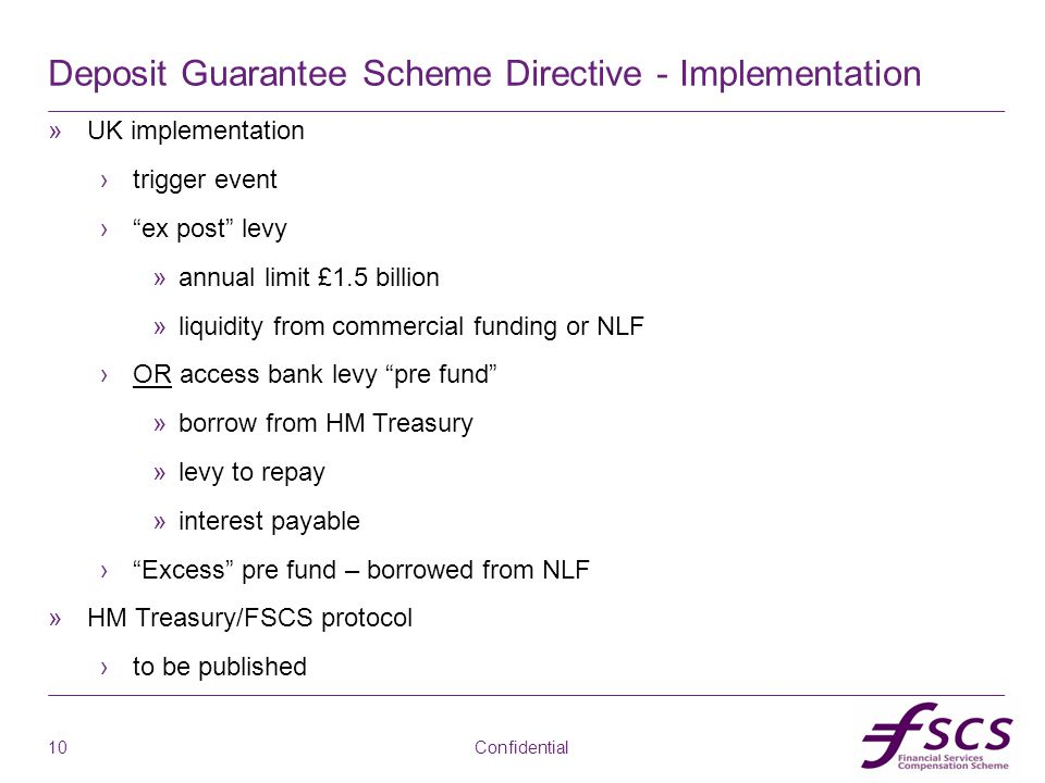 "ab Deposit Guarantee Scheme Directive - Implementation »UK implementation ›trigger event ›""ex post"" levy »annual limit £1.5 billion »liquidity from co"