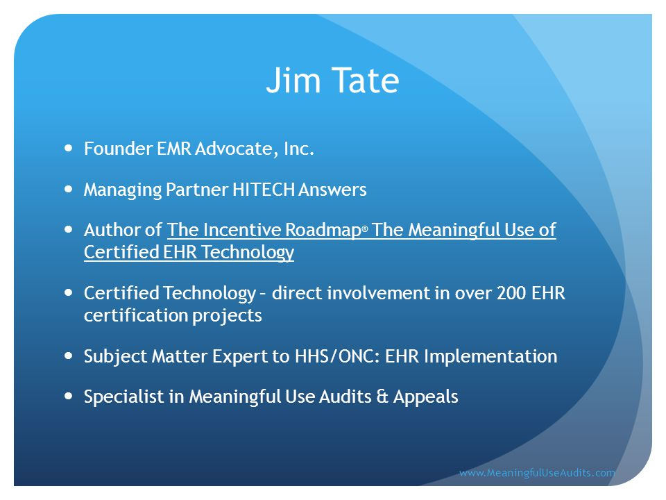 Jim Tate Founder EMR Advocate, Inc.