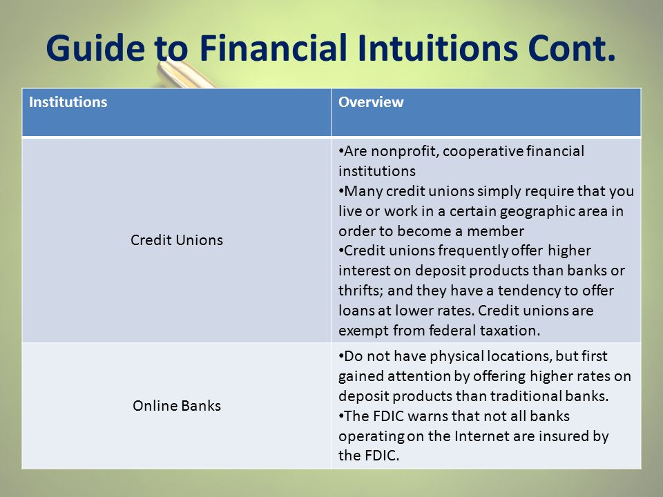 Guide to Financial Intuitions Cont. InstitutionsOverview Credit Unions Are nonprofit, cooperative financial institutions Many credit unions simply req