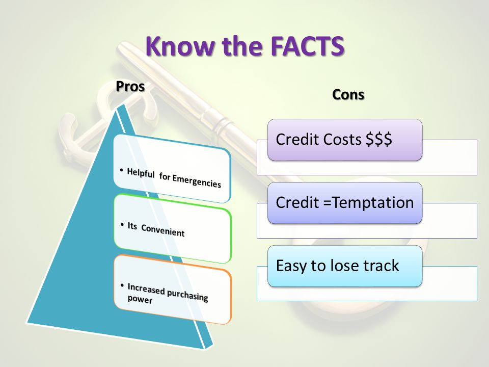 Know the FACTS Pros Credit Costs $$$Credit =TemptationEasy to lose track Cons