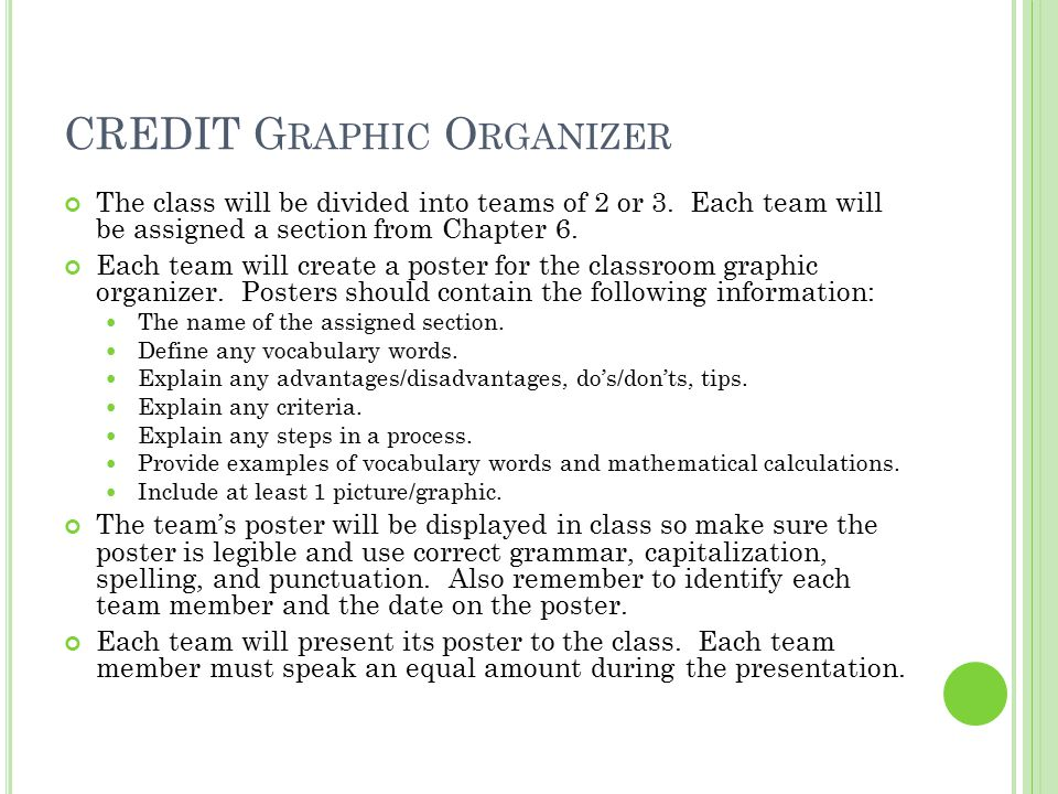 CREDIT G RAPHIC O RGANIZER The class will be divided into teams of 2 or 3. Each team will be assigned a section from Chapter 6. Each team will create