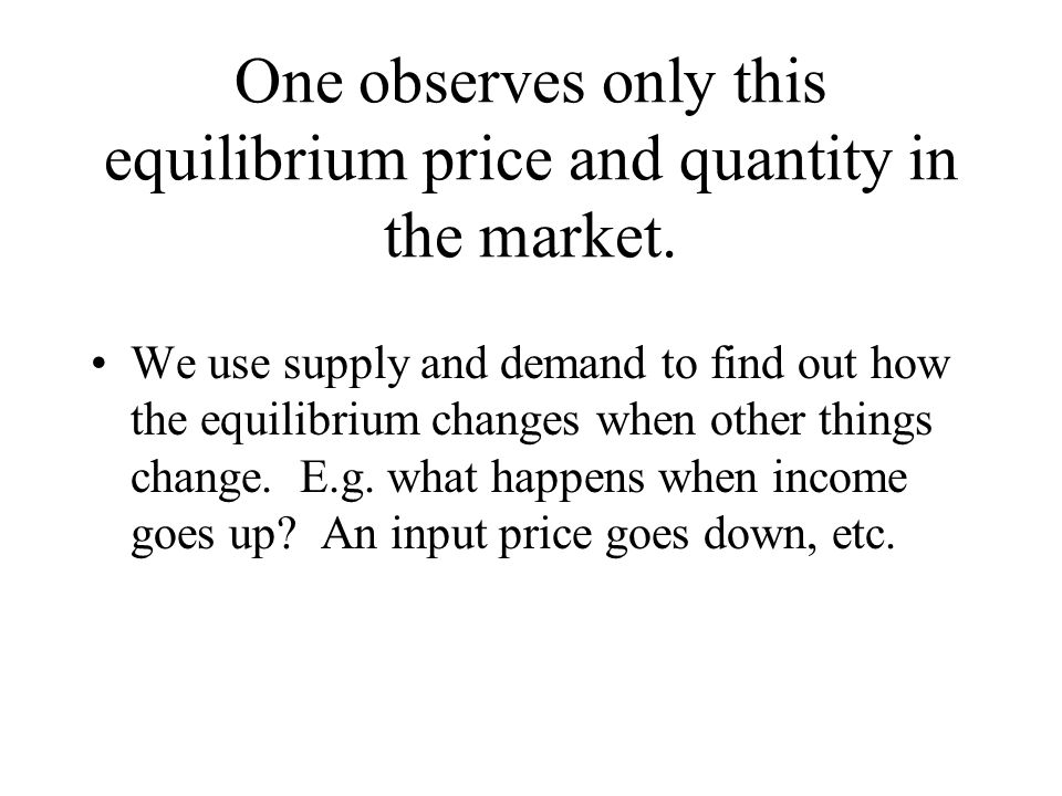 One observes only this equilibrium price and quantity in the market.