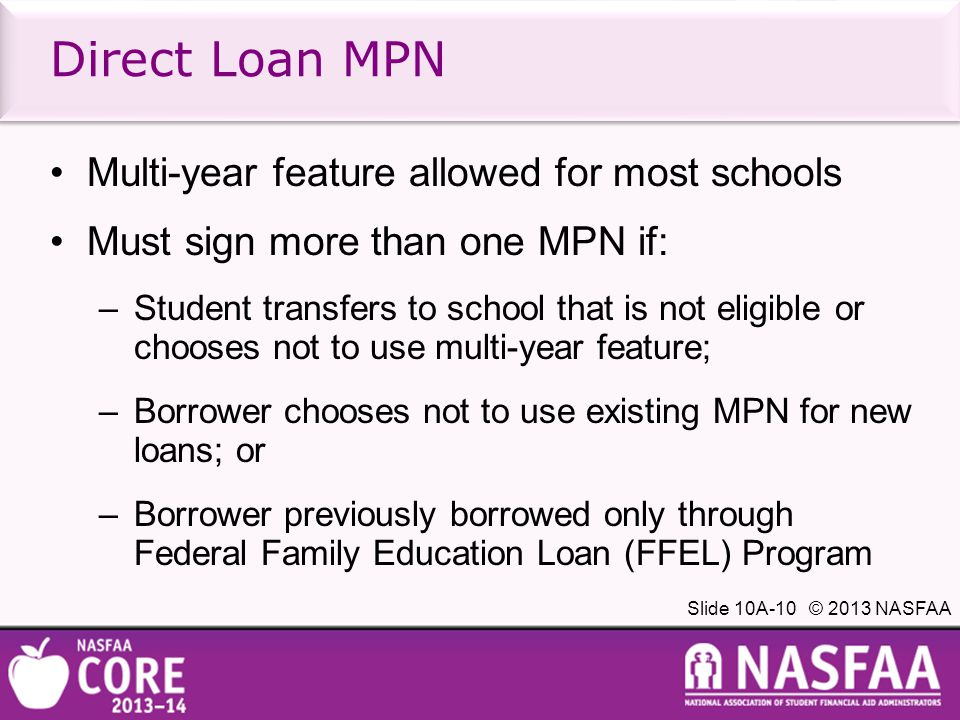 Slide 10A-10 © 2013 NASFAA Multi-year feature allowed for most schools Must sign more than one MPN if: –Student transfers to school that is not eligible or chooses not to use multi-year feature; –Borrower chooses not to use existing MPN for new loans; or –Borrower previously borrowed only through Federal Family Education Loan (FFEL) Program Direct Loan MPN