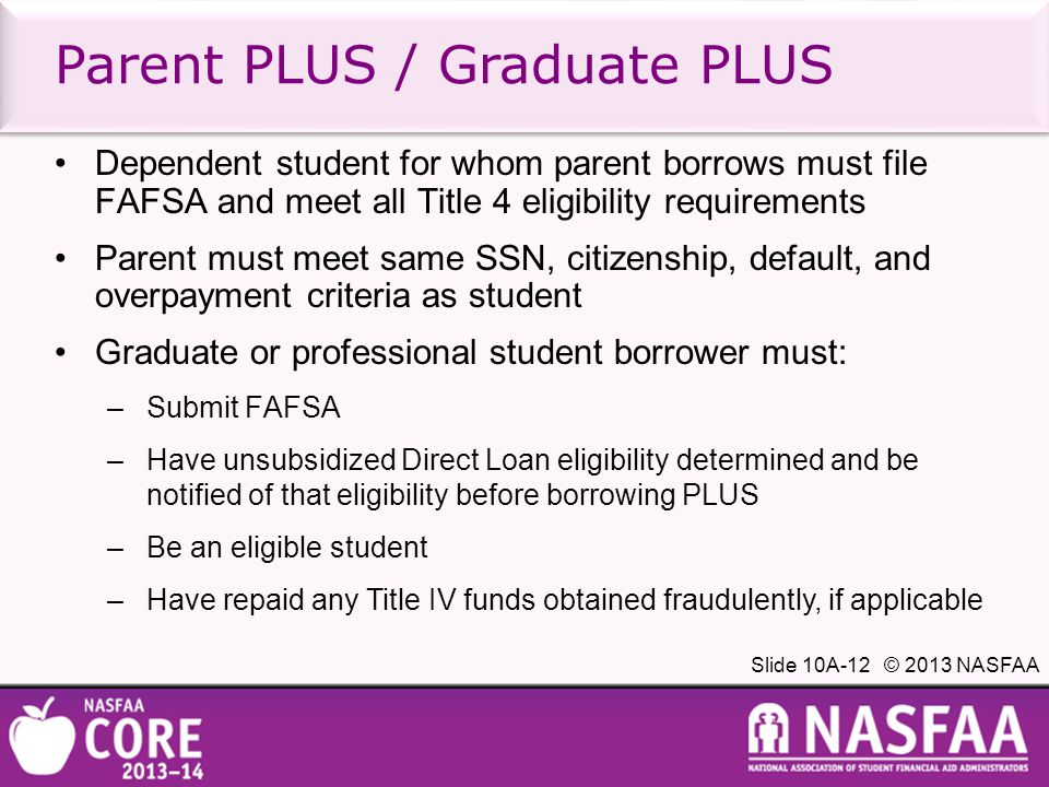 Slide 10A-12 © 2013 NASFAA Parent PLUS / Graduate PLUS Dependent student for whom parent borrows must file FAFSA and meet all Title 4 eligibility requirements Parent must meet same SSN, citizenship, default, and overpayment criteria as student Graduate or professional student borrower must: –Submit FAFSA –Have unsubsidized Direct Loan eligibility determined and be notified of that eligibility before borrowing PLUS –Be an eligible student –Have repaid any Title IV funds obtained fraudulently, if applicable